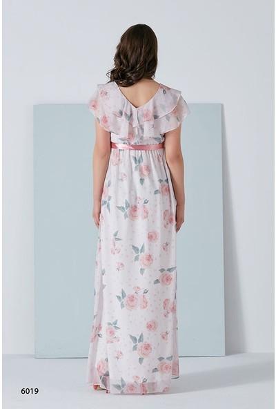 Entarim Çiçek Desen Şifon Hamile Elbise