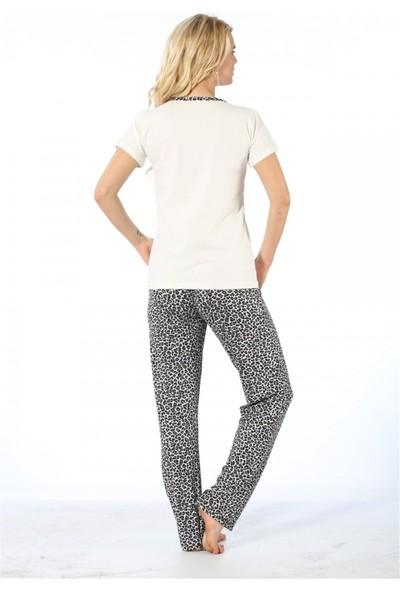 Akbeniz Gri Leopar Desenli Kadın Pijama Takımı 3075