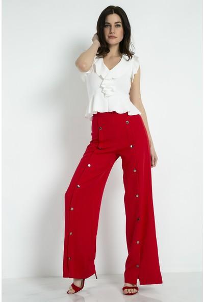 Sateen Çıtçıtlı Detay Bol Kırmızı Pantolon