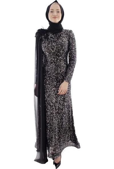 Arda New Line Kadın Siyah-Gümüs Abiye 6502175-10.257