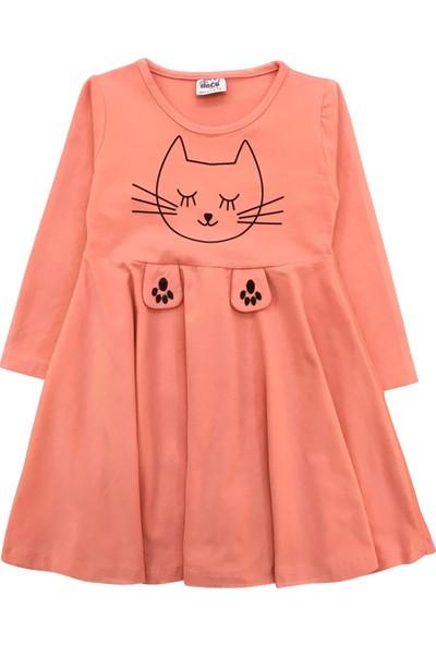 By Leyal For Kids Kız Çocuk Kedi Detaylı Penye Elbise