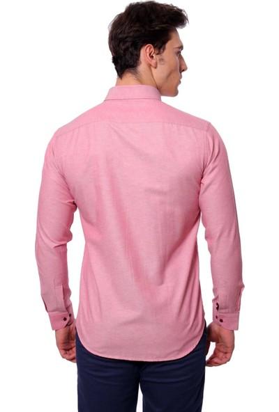 Diandor Uzun Kollu Erkek Gömlek Mercan-Coral 1812020