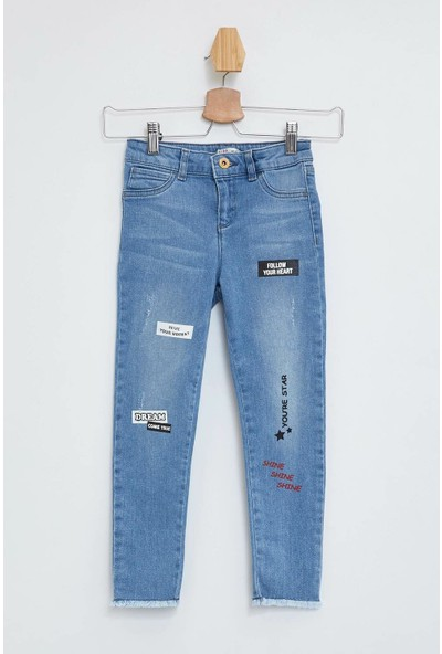 Defacto Kız Çocuk Skinny Fit Baskılı Pantolon