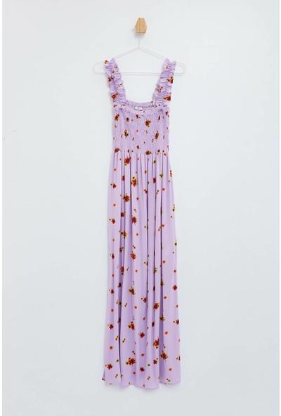 Defacto Kadın Askılı Çiçekli Viskon Elbise