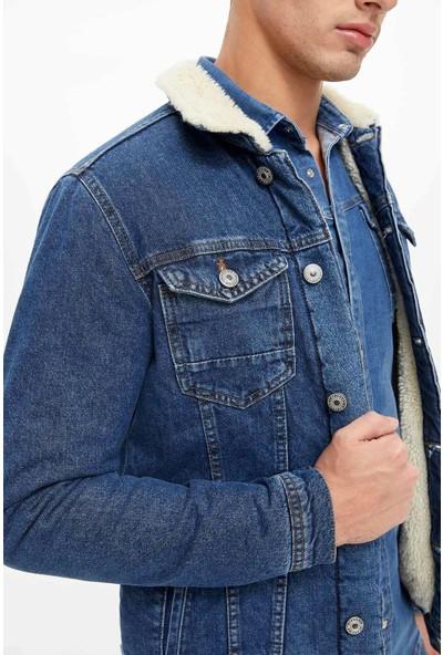 Defacto Erkek Yakası Kürklü Jean Ceket