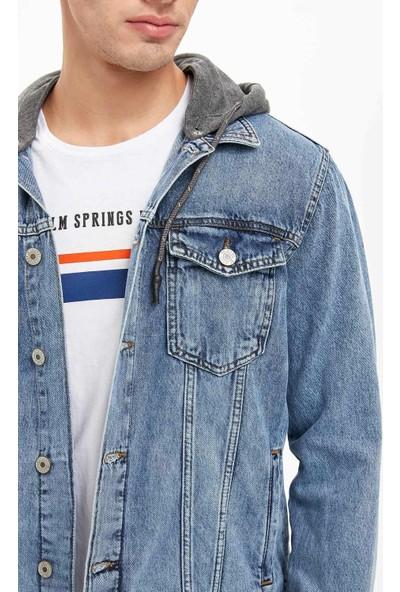 Defacto Erkek Kapüşonlu Jean Ceket
