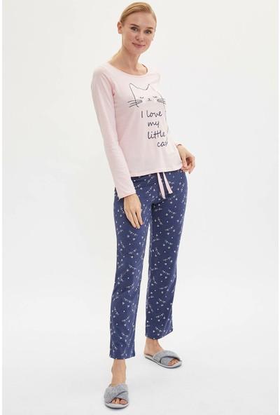 Defacto Kadın Uzun Kollu Pijama Takımı