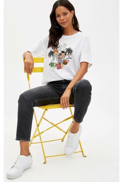 Defacto Kadın Taş Devri Baskılı T-Shirt