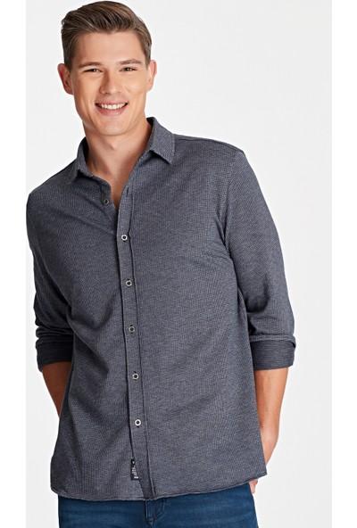 Mavi Erkek Lacivert Örme Gömlek 021355-29743