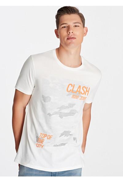 Mavi Erkek Clash Baskılı Beyaz Tişört 065914-30701