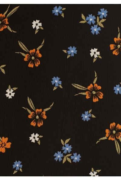 Çiçek Desenli Siyah Etek 130640-23247