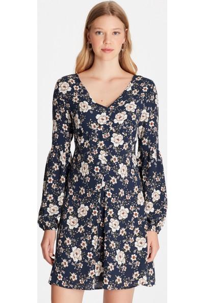 Mavi Kadın Çiçekli Lacivert Elbise