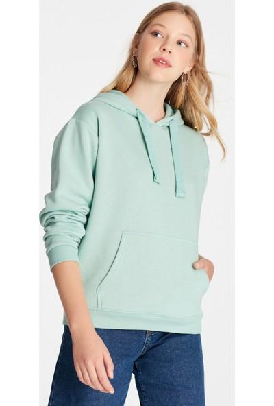 Kapüşonlu Uçuk Yeşil Sweatshirt 167299-27093