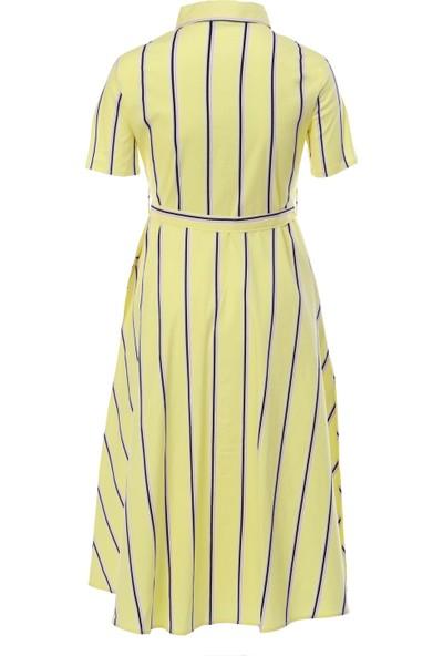 First Chance Sarı Lila Çizgili Elbise