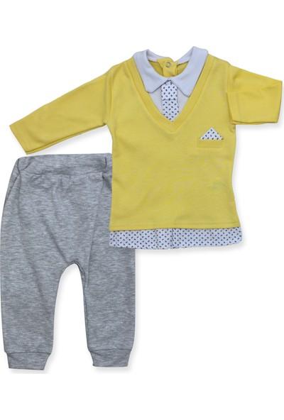Murat Baby Kravatlı 2'li Sarı Bebek Takımı K2969 X62Cm