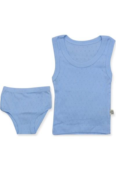 Nonna Baby Mavi Askılı Atlet Külot 2'li Bebek Takımı K2963 X56Cm