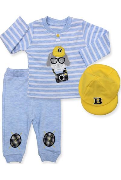 Bebiço Sarı Şapkalı Finolu Mavi Çizgili 3'lü Bebek Takımı K2957 X80Cm
