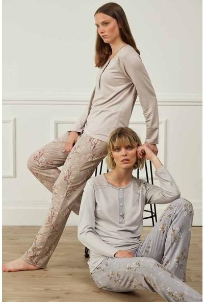 Feyza 3594B Kadın Uzun Kollu Büyük Beden Pijama Takımı
