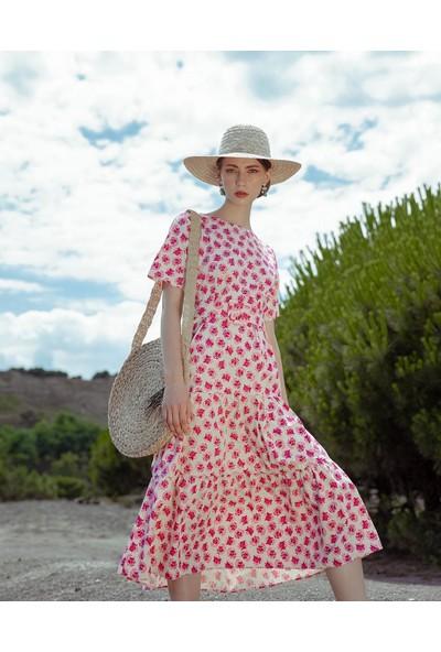 First Chance Desenli Poplin Elbise