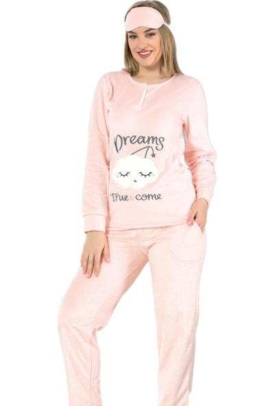 Pijama Evi Dream Bulut Desenli Kadın Yumoş Peluş Pijama Takımı