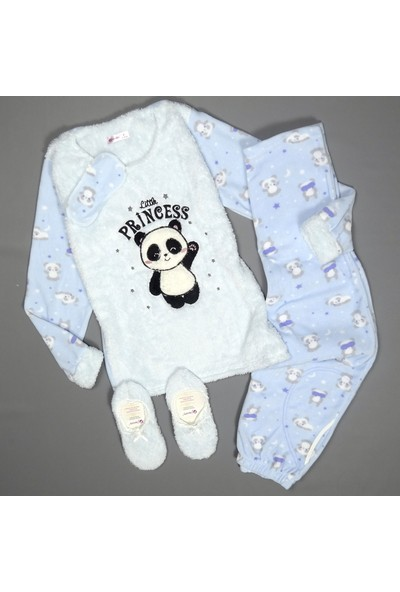 Pijama Evi Mavi Little Panda Desenli Kadın Peluş Pijama Takımı