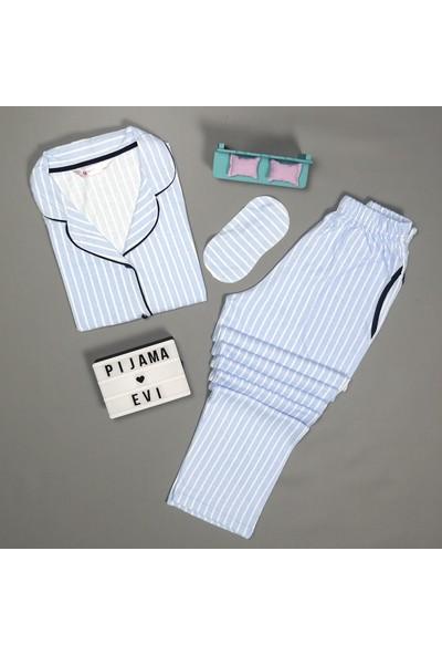 Pijama Evi Mavi Çizgili Önden Düğmeli Kısa Kollu Pijama Takımı