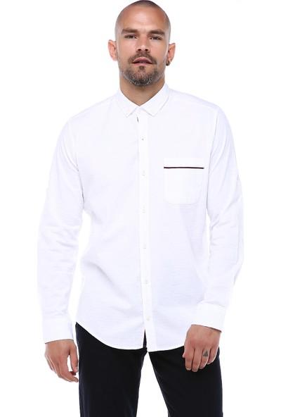 Manche Beyaz Tek Cep Extraforlu Armür Gömlek   ME19S112094