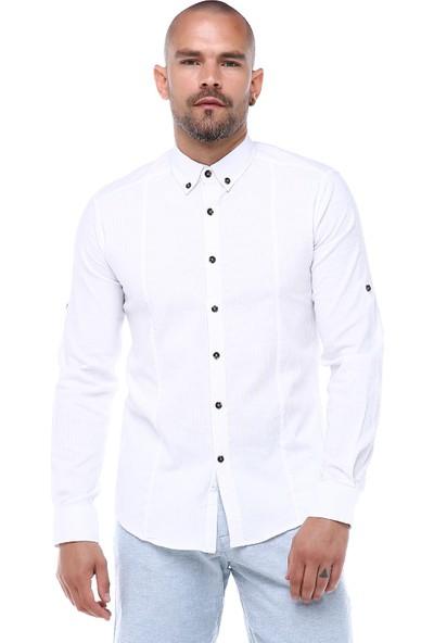 Manche Beyaz Önden Pensli Bengalin Gömlek   ME19S133008