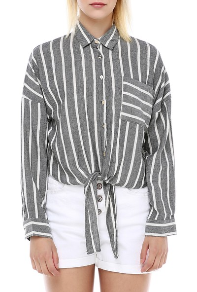 Manche Siyah Önden Bağlamalı Gömlek   MK19S161985