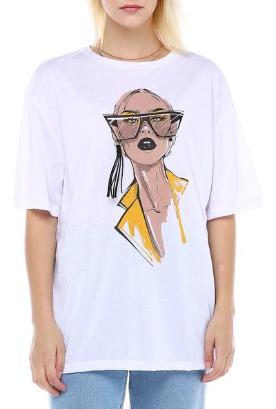 Manche Beyaz Baskılı Oversize T-Shirt   MK19S264595