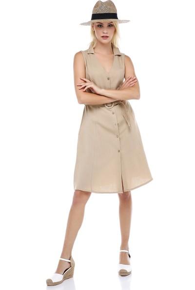 Manche Bej Yakalı Kolsuz Elbise | MK19S283146