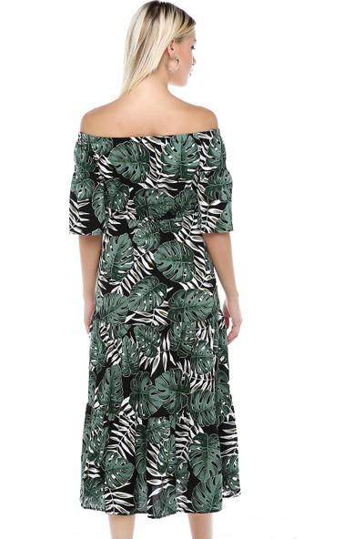 Manche Desen Madonna Yaka Büzgülü Elbise | MK19S283175