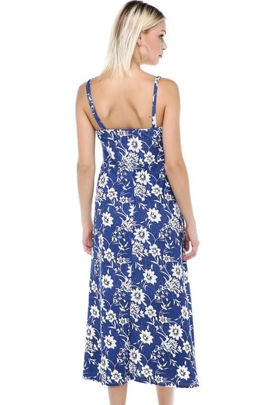 Manche Mavi İp Askılı Kot Zemin Elbise | MK19S284581