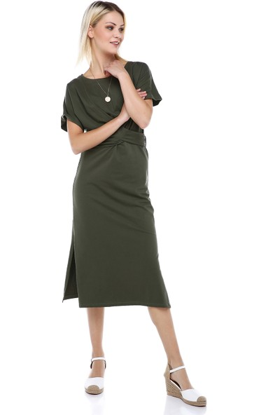 Manche Haki Beli Kemerli Elbise | MK19S284638