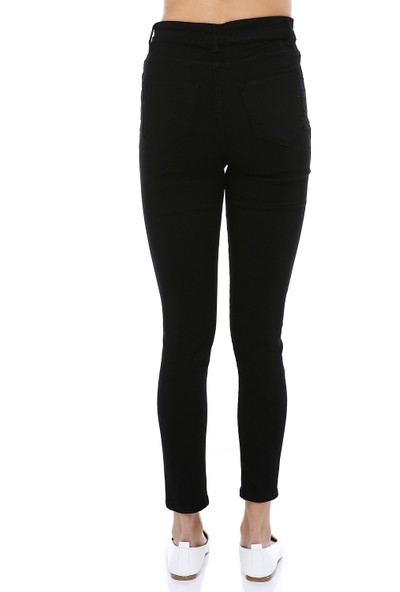Manche Siyah Yüksek Bel Dar Paça Pantolon  MK19S460013
