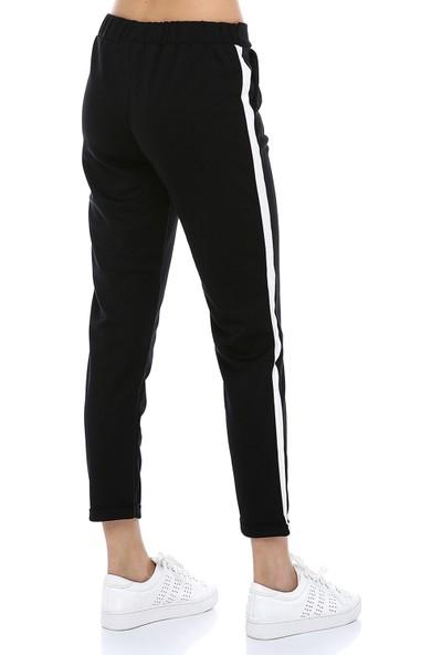 Manche Siyah Yanı Şeritli Pantolon | MK19S662157