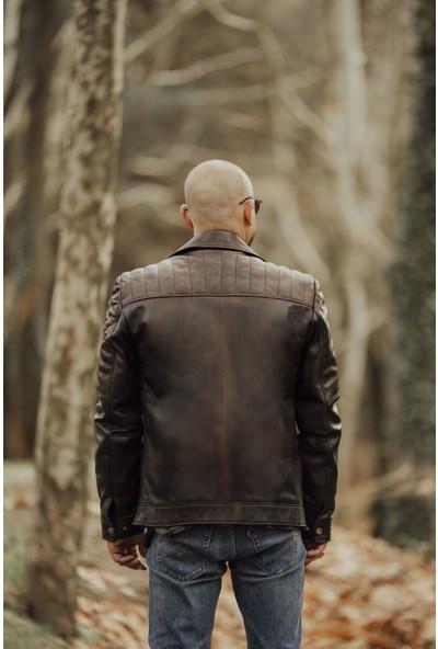 By Motto Vintage Erkek Motorcu Deri Ceket