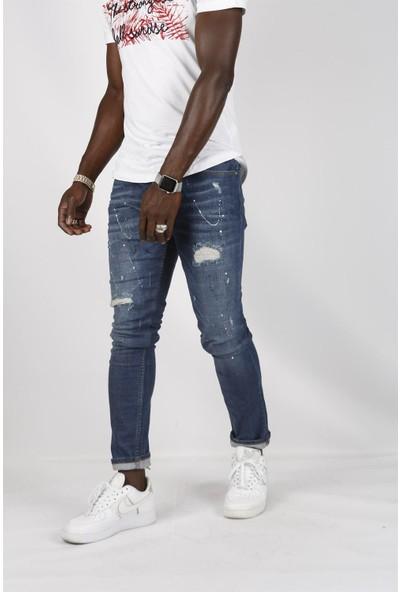 Gotica Slim Fit Boya Sıçratmalı Mavi Kot Pantolon Az Likralı