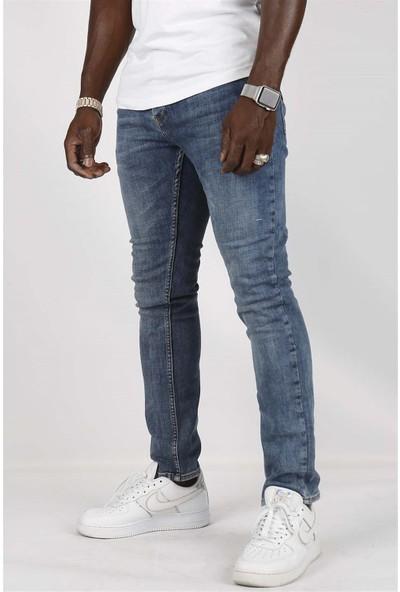 Gotica Mavi Slim Fit Likralı Erkek Kot Pantolon