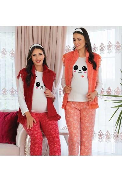 Şık Mecit Polar Yelekli Lohusa Pijama Takımı
