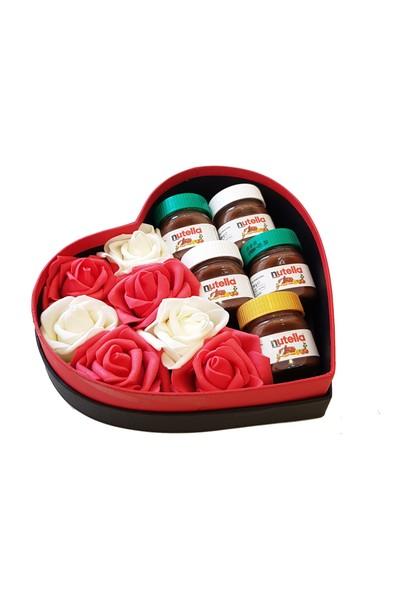 Chavin Aşk ve Nutella Kutusu Güller ve Mini Nutella Kavanozları YAP99