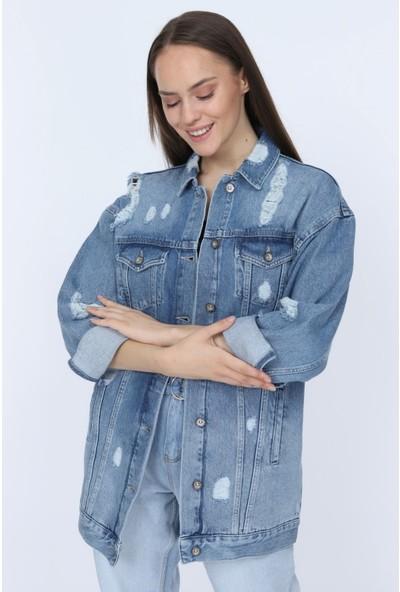 Denim Republic Kadın Açık Mavi Yırtık Detaylı Uzun Kot Ceket