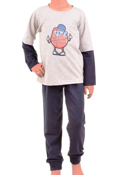 Tom John Erkek Çocuk Pijama Takımı Uzun Kollu Diyagonal Garson