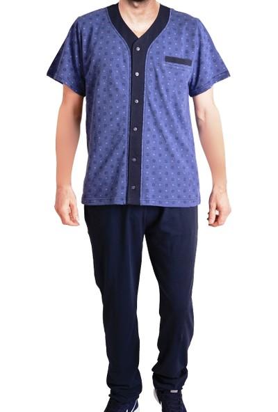 Tom John Erkek Pijama Takımı Kısa Kollu Cepli Düğmeli Pamuk