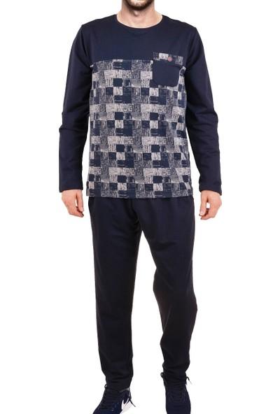 Tom John Erkek Pijama Takımı Uzun Kollu Diyagonal Jakarlı Cepli