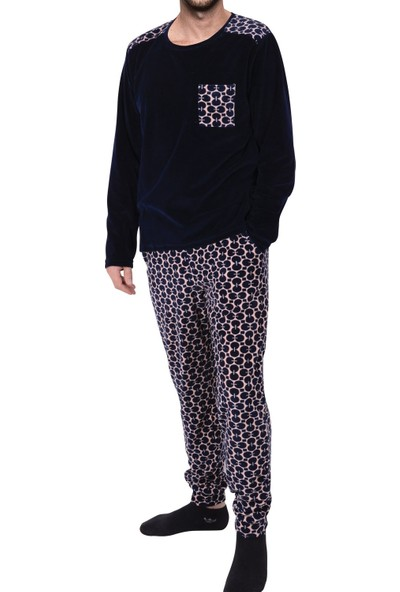 Tom John Erkek Pijama Takımı Uzun Kollu Kadife Cepli