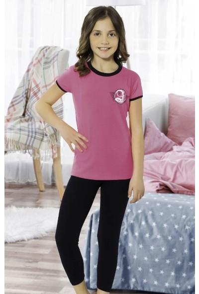 Hmd Kız Çocuk Kısa Kol Kapri Pijama Takımı