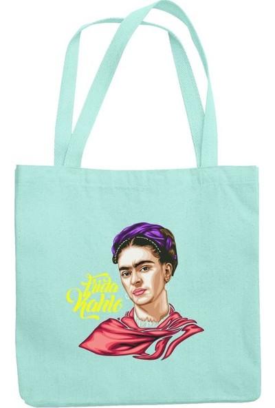 Fandomya Frida Kahlo Açık Mavi Askılı Postacı Kot Çanta