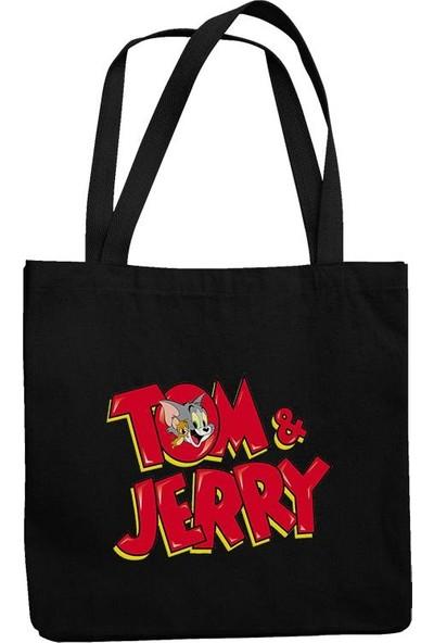 Fandomya Tom & Jerry Siyah Askılı Postacı Kot Çanta