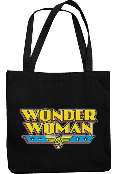 Fandomya Wonder Woman Siyah Askılı Postacı Kot Çanta